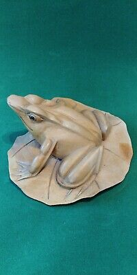 Unique Vintage Balinese Folk Art Hand-carved Wood Frog on Lily Pad