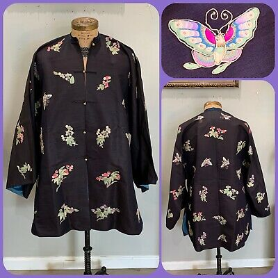 Antique CHINESE SILK ROBE Embroidered Floral BUTTERFLY Forbidden Stitch QING VTG