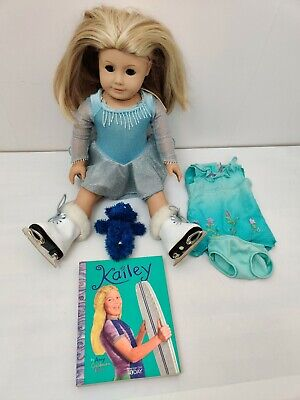"""18"""" American Girl Pleasant Company Doll Kailey Hopkins Ice Skating Outfit, Book"""