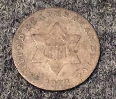 1853 3cent Silver.. Better Grade.. Nice Details.. $2 Ship NR