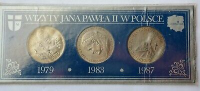 Set of 3 Medals 1987, three visits to Poland 1979, 1982, 1987 Pope John Paul II