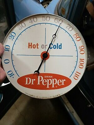 Dr. Pepper Round Advertising Thermometer Sign Gas Station Oil