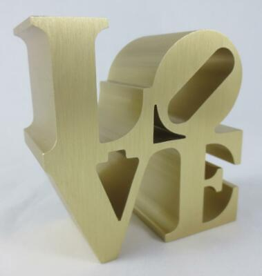 "Vintage 1970's ROBERT INDIANA ""LOVE"" PAPERWEIGHT Gold Tone Brushed Aluminum"