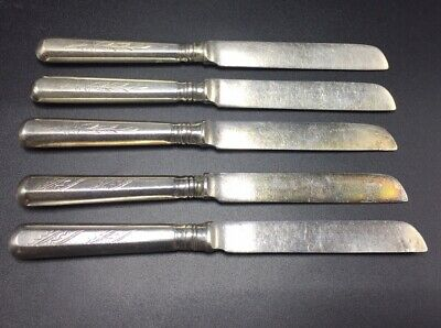"""Russian Antique 84 Solid Silver Set Of 5 Knives 6 1/4"""""""