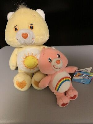 """set  of 2 Care Bears Cheer Bear 8"""" Chubby Plush  Vintage 5 """" with clip & tags"""