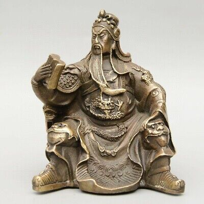 Collectable China Old Bronze Hand-Carved Guan Yu Look Book Delicate Decor Statue