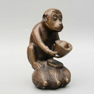 Collectable China Old Bronze Hand-Carved Monkey & Wealth Moral Bring Luck Statue