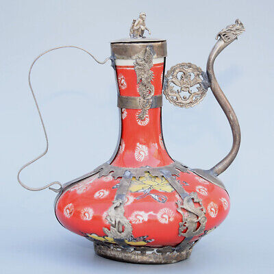 Collectable China Old Miao Silver Armour Porcelain Carve Monkey & Dragon Tea Pot