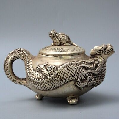 Collect Old Miao Silver Hand-Carved Myth Dragon & Golden Toad Precious Tea Pot