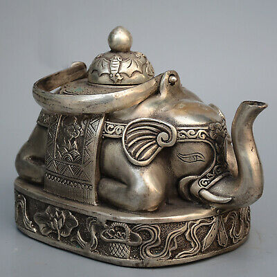 Collectable China Old Miao Silver Hand-Carved Lovely Elephant Auspicious Tea Pot