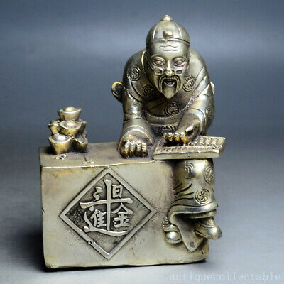 Collect China Old Tibet Silver Carved Ancient Rich Merchant Figure Vivid Statue