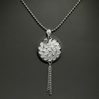 Collectable China Old Miao Silver Hand-Carved Proud As A Peacock Noble Pendant