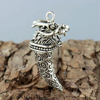 Collect Old Miao Silver Hand-Carve Roar Myth Dragon Moral Exorcism Decor Pendant