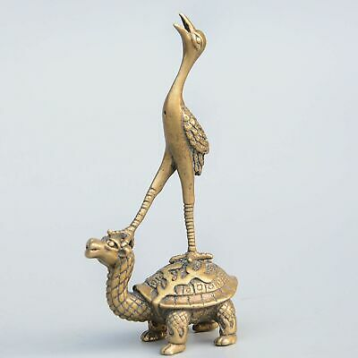 Collect China Antique Bronze Hand-Carved Crane & Dragon Turtle Auspicious Statue