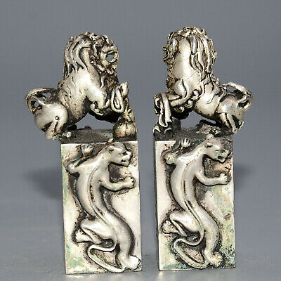 Collectable Old Miao Silver Hand-Carved Myth Lion Moral Auspicious A Pair Statue