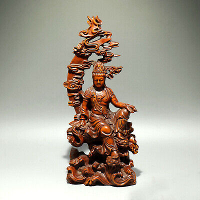 Collectable Old Boxwood Hand-Carved Buddhism Kwan-Yin Auspicious Delicate Statue