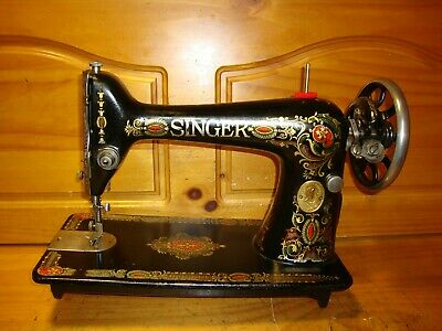"Antique Singer Sewing Machine Head Model 66 ""Red Eye"", Serviced"