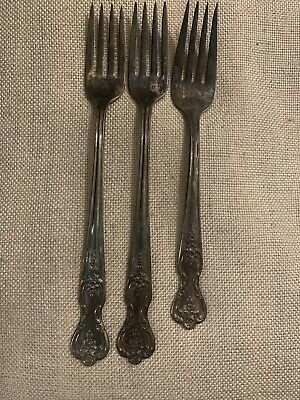 WM Rogers mfg co Original Roger Silver Extra Plate Grill & Dinner Fork Lot 3