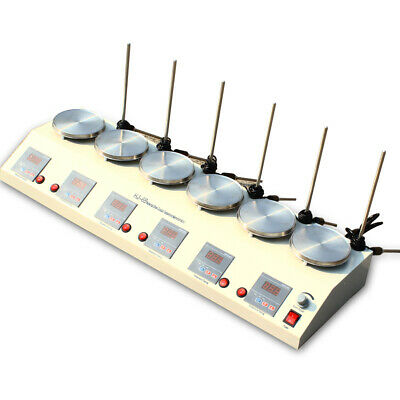 6 Heads Lab Digital Thermostatic Magnetic Stirrer Hotplate Mixer Stainless Steel
