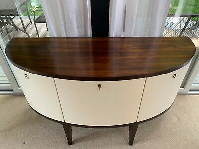 Barbara Barry for Henredon mahogany console table with lacquered linen