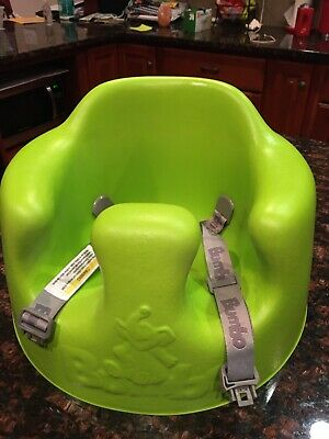 Bumbo Baby Floor Seat Chair Lime Green w Safety Belts Straps