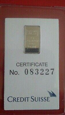Credit Suisse 1 Gram .9995 Fine Platinum Liberty Bullion Bar (Sealed)