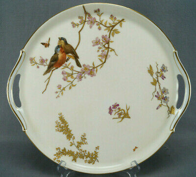 Antique European Hand Painted Aesthetic Birds Butterfly Blossoms & Gold Tea Tray
