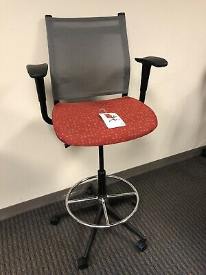 Counter Height Office Chair With Arms - Grey Mesh Mid Back - Red Seat - USED