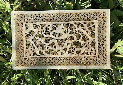 Early Antique Ming Dynasty Chinese Hand Carved White Jade Plaque Of Dragon