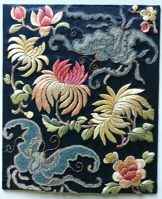 Vintage Embroidered Chinese Silk Panel With Soul Moths & Peonies