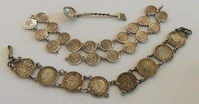 2 Antique Silver Coin Bracelet for Restoration & Condiment Spoon Threepenny Bit