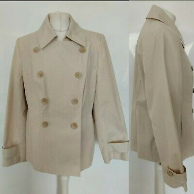 Per Una M&S Women Pea Jacket Coat Cream Button Collar Formal Office Cas Plus 18