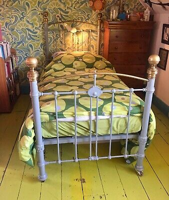 Antique Victorian Single Cast Iron Brass Bed Grey Painted
