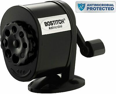 Bostitch Antimicrobial Counter-Mount/Wall-Mount Manual Pencil Sharpener Black