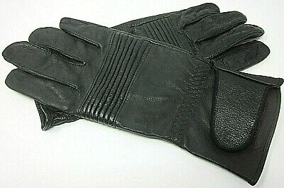 Olympia Genuine Black Cowhide Leather Motorcycle Riding Gloves Unlined Medium M