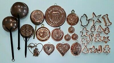 Lot of 30 ~ Vintage Copper Kitchen Decor ~ Pans, Ladles, Molds, Cookie Cutters