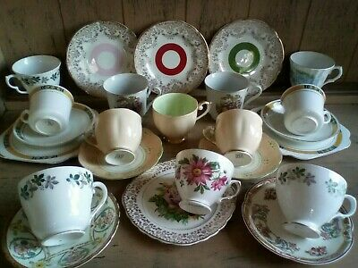 VINTAGE MISMATCHED CHINA CUPS AND SAUCERS 24pcs