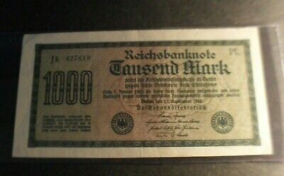 Germany year 1922 paper money of 1000 marks - one fold