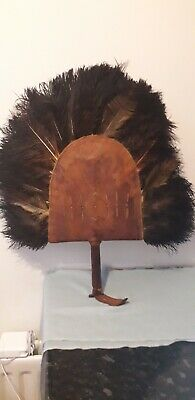 African Leather Ostrich Feather Tribal Hand Fan