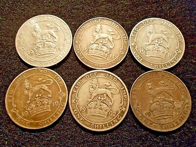 6 Silver 1 Shilling Coins From Great Britain 0.925% Silver Dates 1902-1917