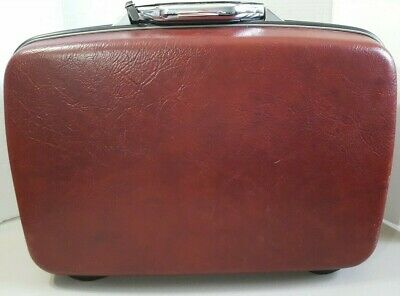 Vintage 60s Samsonite Silhouette Hard Case Suitcase Luggage Burgundy 20 inch