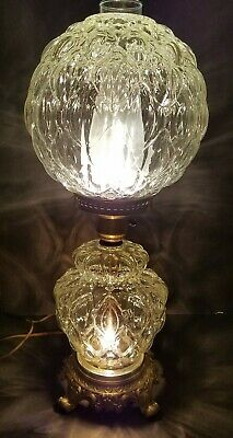 """Vintage HEDCO Hurricane Clear Glass 3 Way Parlor Lamp 22"""" tall"""