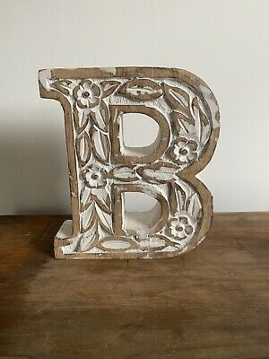 Hand Carved Wooden Ornament Decoration Rustic Shabby Chic Antique Style Letter B