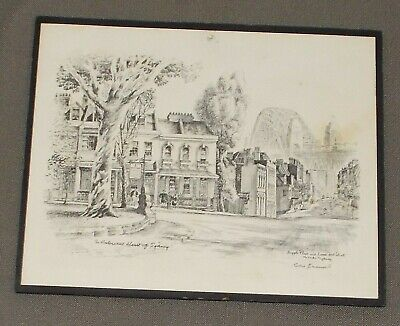 """Vintage Cedric Emanuel """"The Historical Heart Of Sydney"""" Print In Fair Condition"""