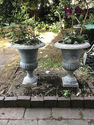 Stunning French Victorian Style Cast Iron Campana Garden Urns, Great Size /Shape
