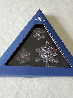 Swarovski Snowflake Christmas Ornament Set 2004 Ex. Condition
