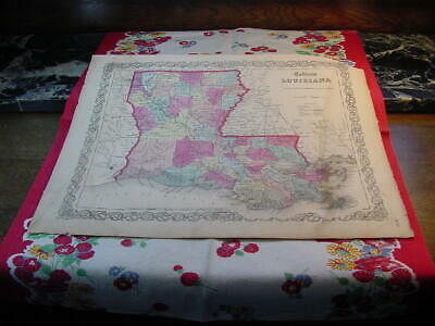 State of Louisiana Map 1860 Colton's General Atlas Color Steel Engraving CA36