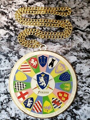 "2017 Krewe of King Arthur 40th Anniv. 5"" Multi Color Looped Medallion on Chain"