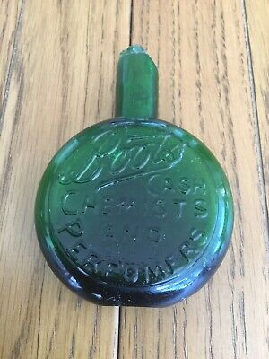 Boots Cash Chemist And Perfumers Vintage Green Bottle - Rare But Damaged
