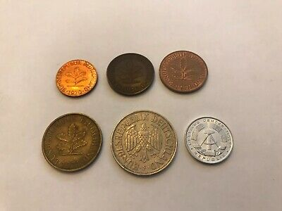 Germany & German Democratic Rep Pfennig And Mark World Coins Lot of 6 1950-1971